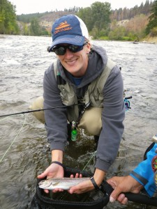 Bree Barton shows off a nice Washington rainbow - while wearing quality angling sunglasses, NOT fashion-wear!